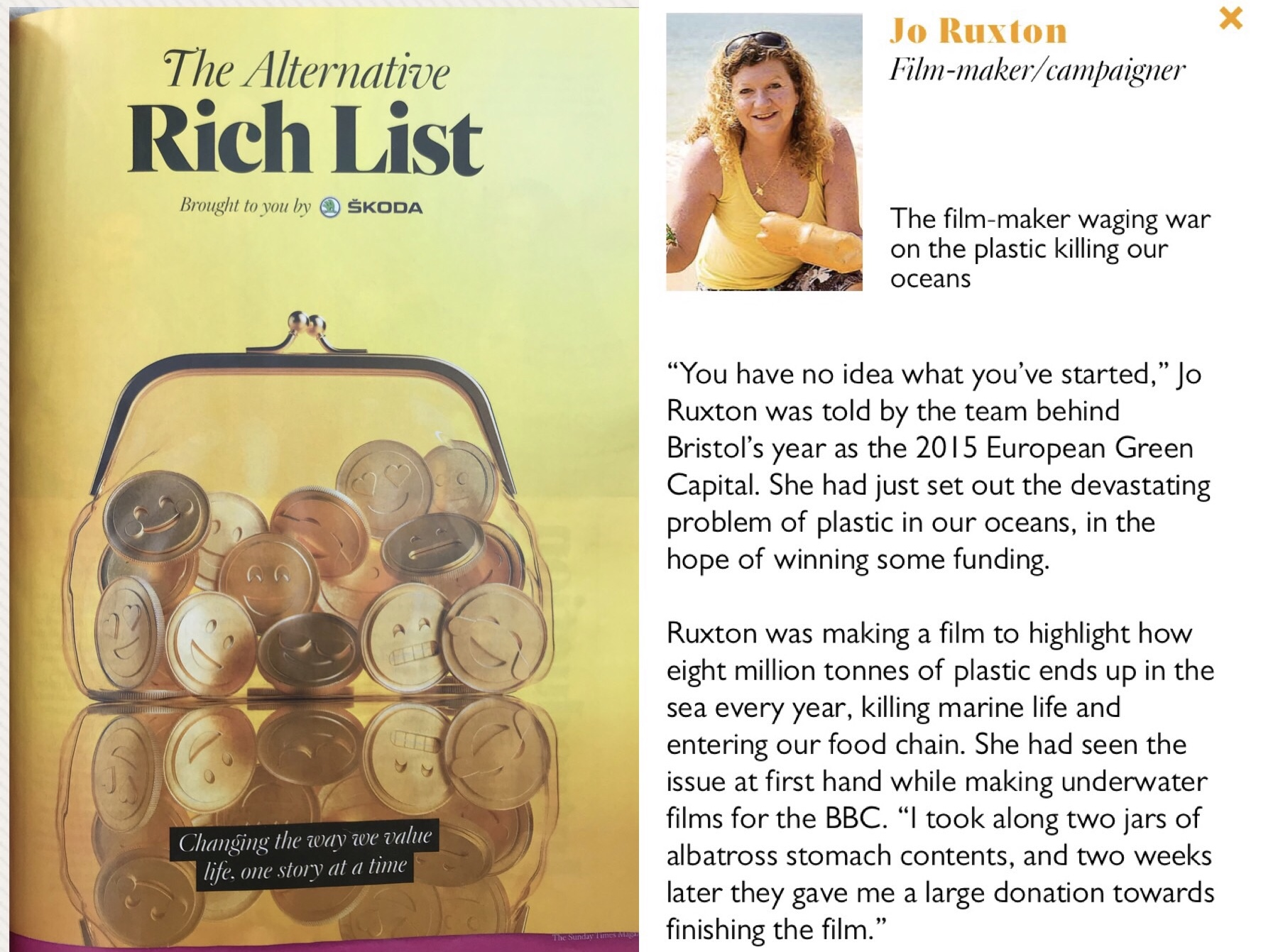 Jo Ruxton featured in Sunday Times Alternative Rich List